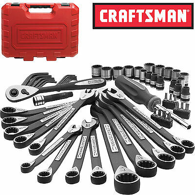 New Craftsman 56 Unite pc Universal Mechanics Tool Set Socket Wrench Garage Auto
