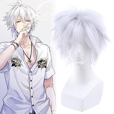 Killua Gintoki Aohitsugi Samatoki Cosplay Wig Fluffy White Short Mens Hair Wigs
