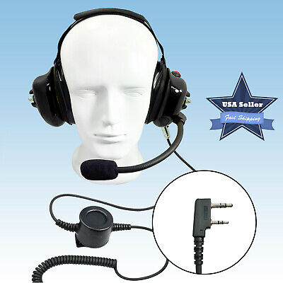 Behind The Head Noise Reduction Two Way Radio Racing Headset for Kenwood 2 Pin
