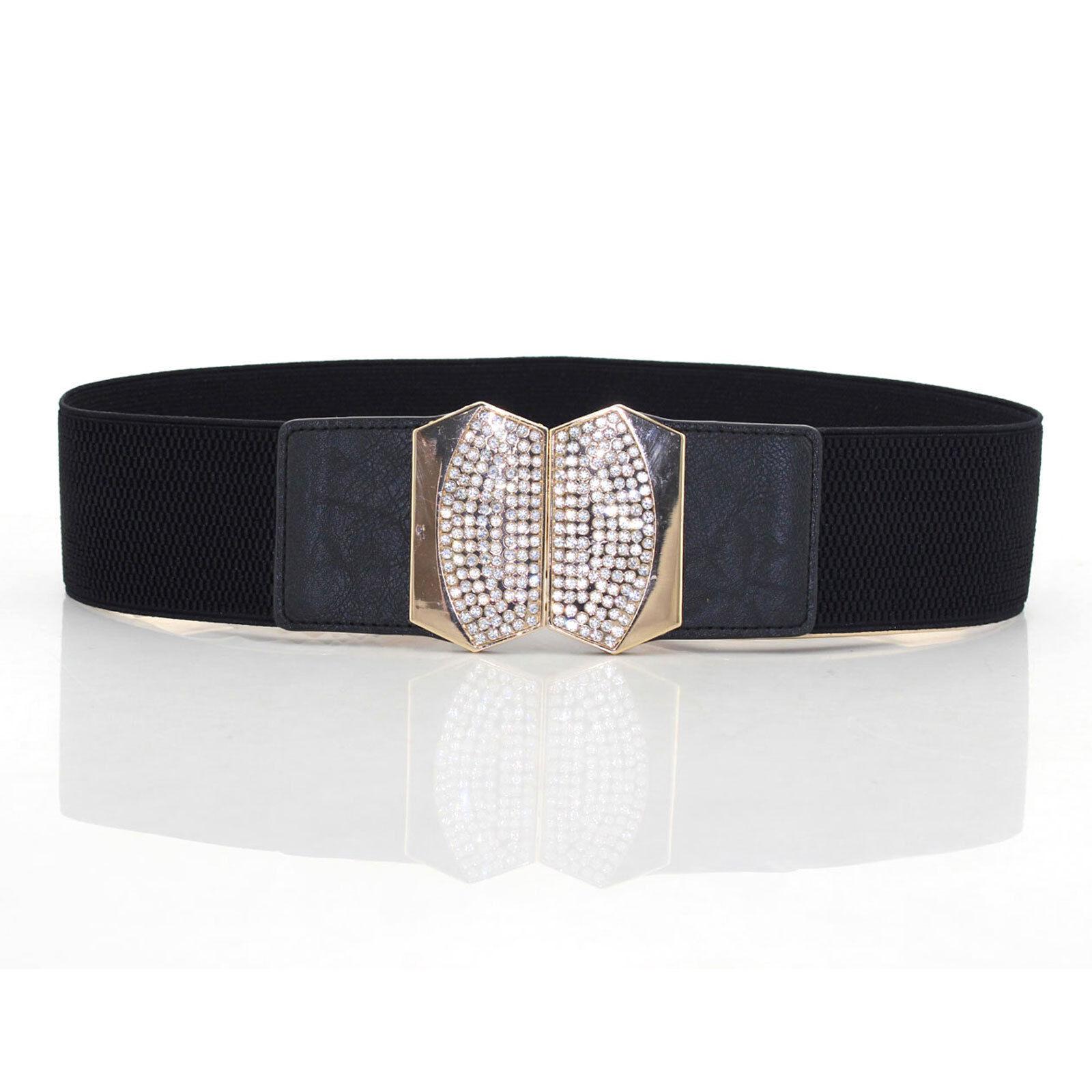 Da Donna Elasticizzato Elastico Vita Cintura Diamante Fibbia per Moda 65 Largo