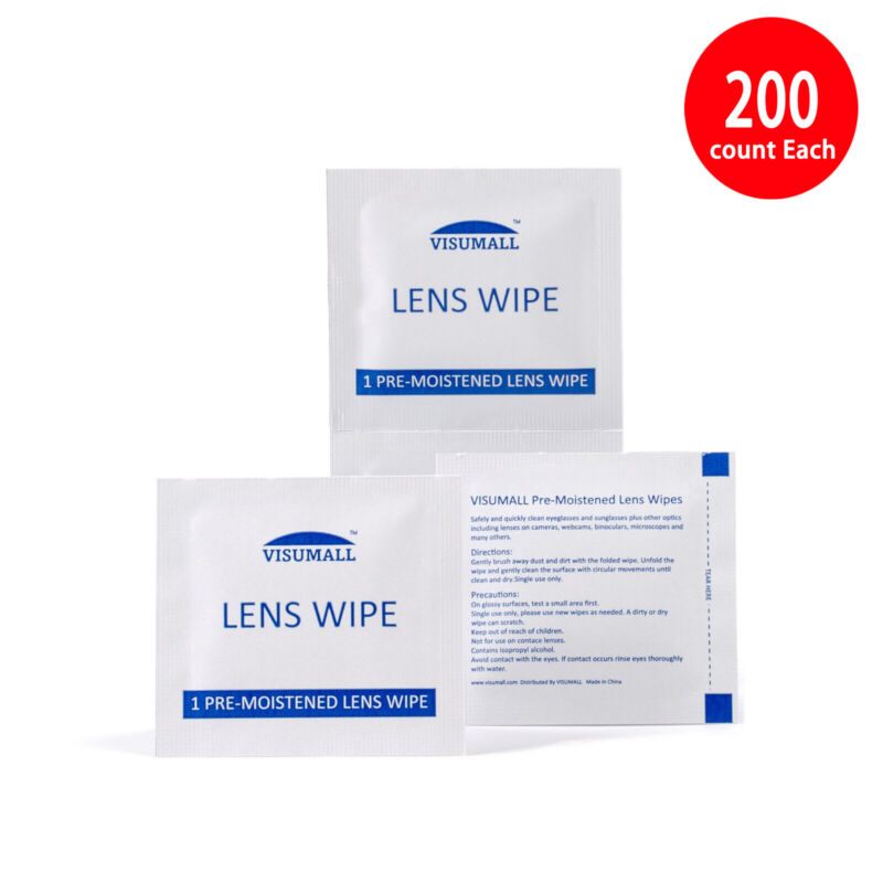 VISUMALL Pre-Moistened Eye Glasses Computer Optical Lens Cleaning Wipes 200 CT