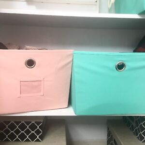 Pink & Mint Storage Boxes (4 total)