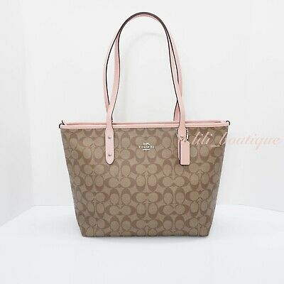 NWT Coach F58292 City Zip Tote Handbag Purse PVC Signature Khaki Petal Pink $295