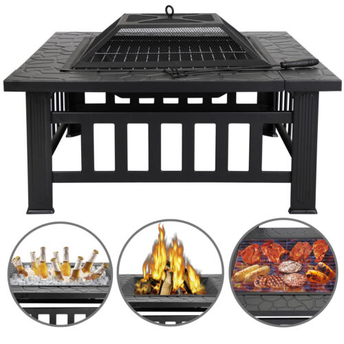 32″ Square Metal Firepit Backyard Patio Garden Stove Fire Pit W/Cover Outdoor Fire Pits