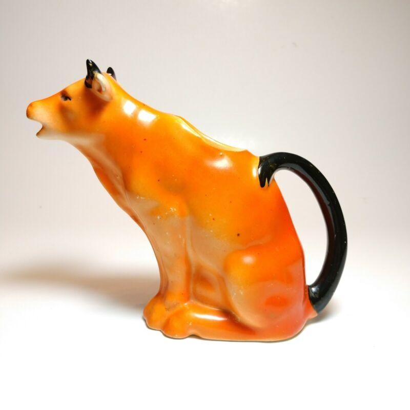 Vintage Ceramic Orange Cow Bull Creamer Made In Czechoslovakia Pottery Pitcher