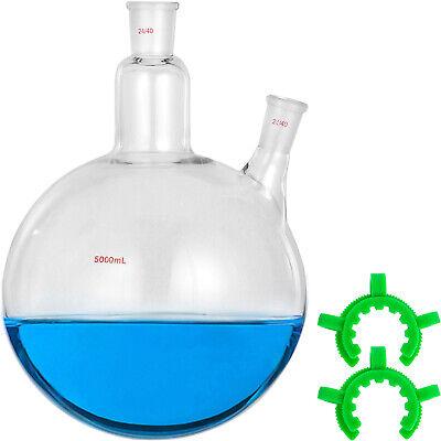 Vevor 5l 2 Neck Round Bottom Flask 2440 Receiving Flask 5000ml Boiling Flask