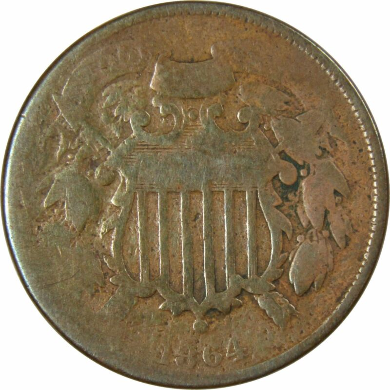 1864 Small Motto 2c Two Cent Piece US Coin About Good