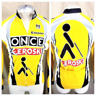 Once Eroski Tour De France (5 Large) Long Sleeve Full Zip Up Thermal Jersey ecb845079
