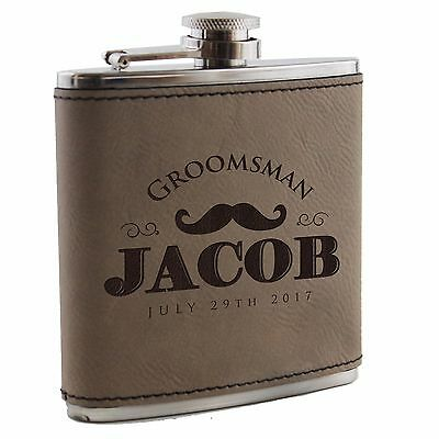 Wedding Gifts For Groomsmen (Custom Engraved Leather Flask - Groomsmen, Wedding, Bachelor Party Gift For)