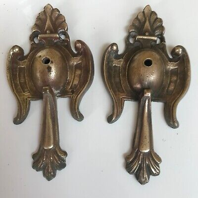 Antique solid brass embellishments pair furniture decorations CABINETS CLOCKS
