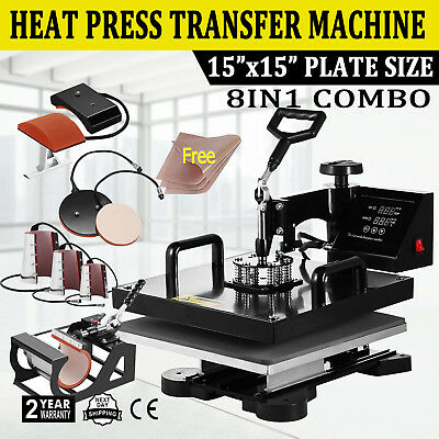 8in1 Combo T-shirt Heat Press Transfer 15x15 Mug Plate Hat Machine Swing Away
