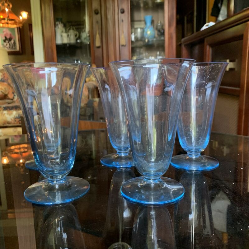 SET OF 5 FOSTORIA FAIRFAX AZURE BLUE WATER Tumbler GLASSES