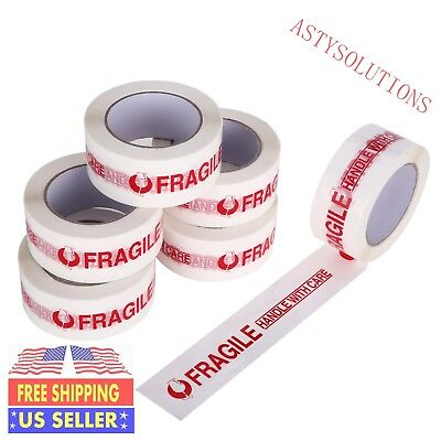 6 Rolls Fragile Handle With Care Carton Sealing Packing Tape 2x110 Yd 2mil