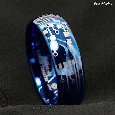 8mm Shiny Blue Dome Tungsten Carbide Ring Laser Circuit Board ATOP Men's (Shiny Blue)