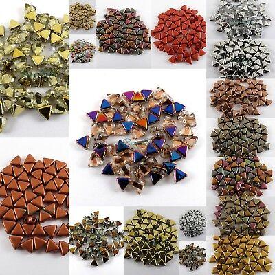30pcs 2Hole Kheops Par Puca 6mm Pyramid Czech Pressed Glass Beads U-Pick (00030) Czech Pressed Glass Beads
