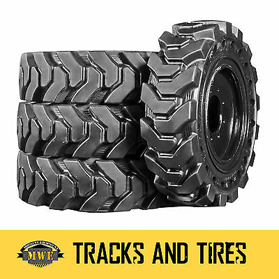 4 New 14x17.5 14-17.5 36x13-20 Solid Rubber Skid Steer Loader Tire - No Flats