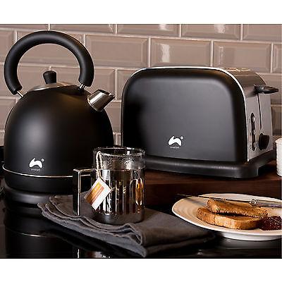 Ovation Black/Silver Large Fast Boil Dome Kettle + Wide Slot 2-Slice Toaster Set