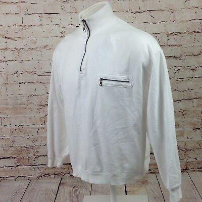 Two Dog Island Men's 1/2 Zip Up Pullover Sweater Large White Pocket Jacket
