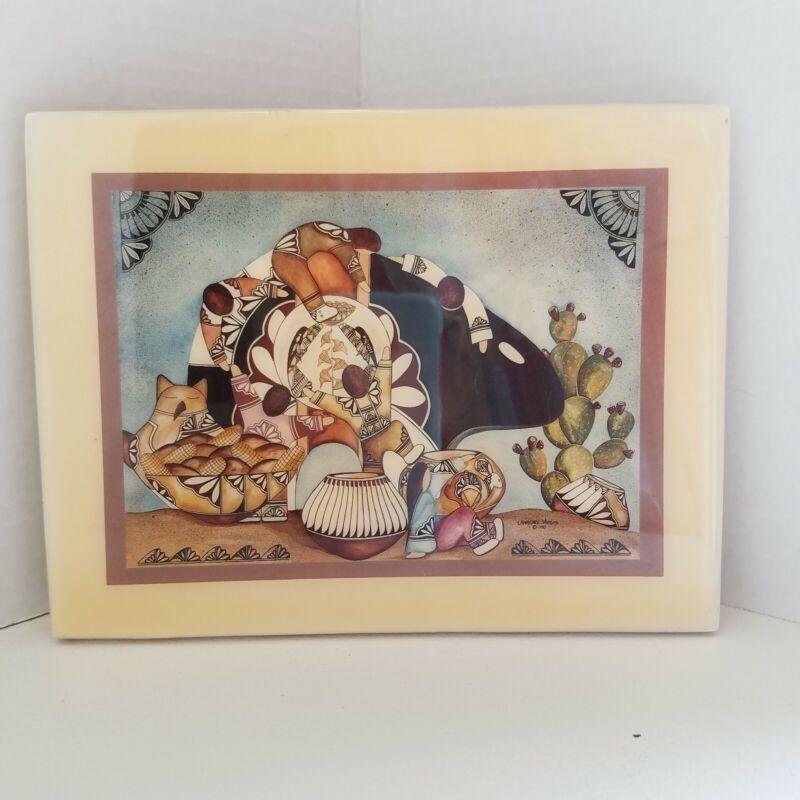 """Lawrence Vargas Southwest Art 6"""" x 8"""" Glazed Tile Little Debbie Running Bear VTG"""
