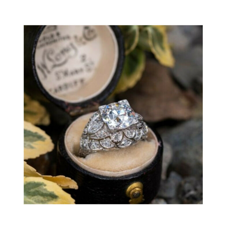 Antique Vintage 2.70Ct White Round Diamond Solid 14K White Gold Engagement Ring