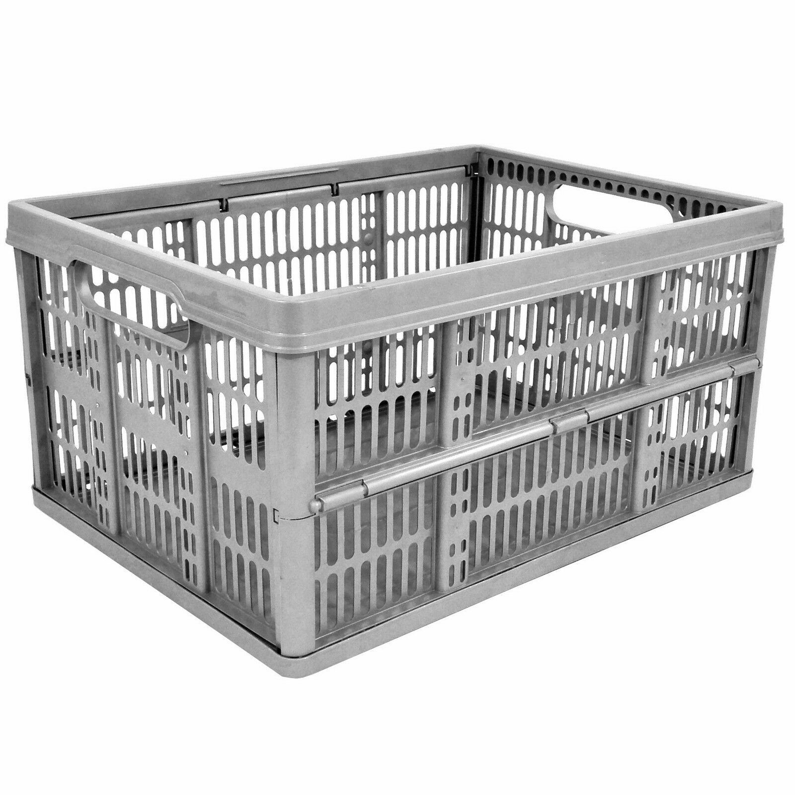 COLLAPSIBLE STORAGE CRATE PLASTIC BOX 32L STACKABLE BASKET STRONG FOLDING