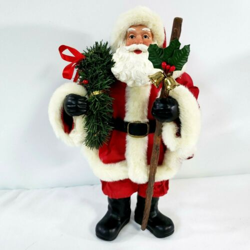 """Standing Red Santa Claus Christmas Figurine holding wreath and staff 10.75"""" high"""