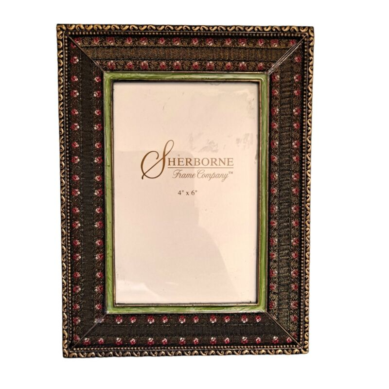 SHERBORNE FRAME CO. Eclectic Embroidered Silk  & Bronze Photo Frame  4 X 6
