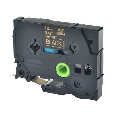 1pk Tz334 Tze334 Gold On Black Label Tape 12mm 12 For Brother P-touch Pt-d600