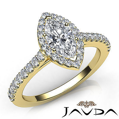 French U Pave Halo Marquise Diamond Ring GIA Certified F Color VVS2 Clarity 1Ct