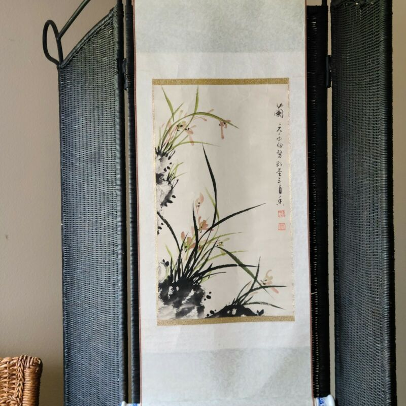Vintage Watercolor Painting Scroll Asian Decor Chinoiserie