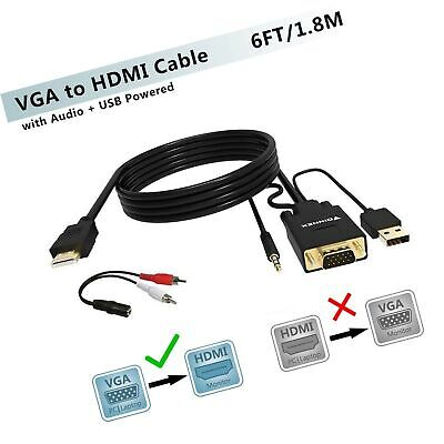 VGA to HDMI Adapter Cable 6Ft/1.8M ,FOINNEX VGA to HDMI Conv