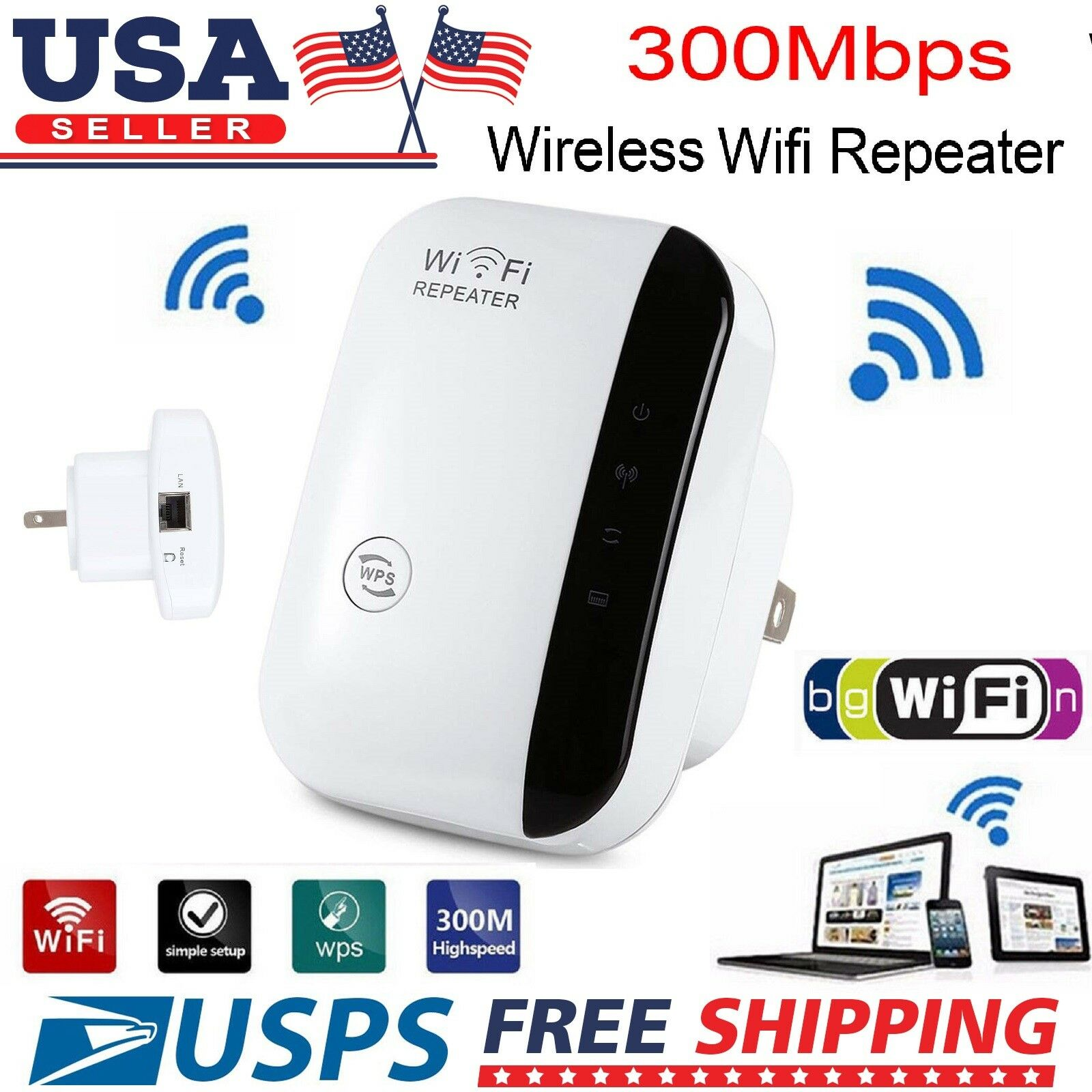 300 Mbps Wireless Wifi Repeater Router Signal Booster Range Extender WPS US Plug