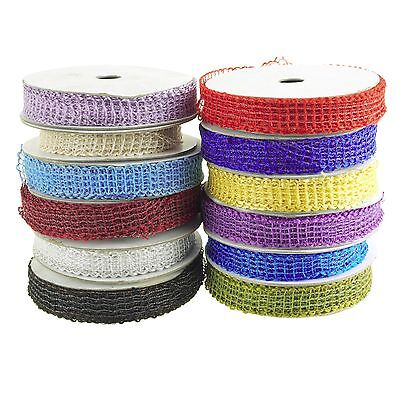 Jute Mesh Netting Wired Edge Ribbon, 7/8-Inch, 25 Yards - CLOSEOUT](Jute Netting)