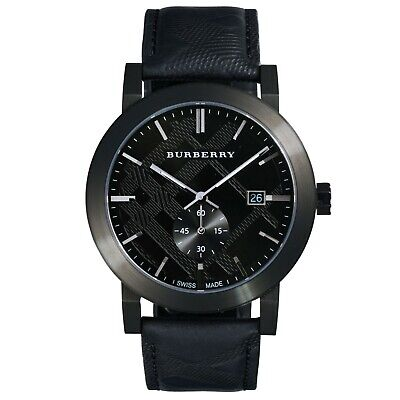 Mens Burberry city watch with black leather strap and Swiss movement BU9906