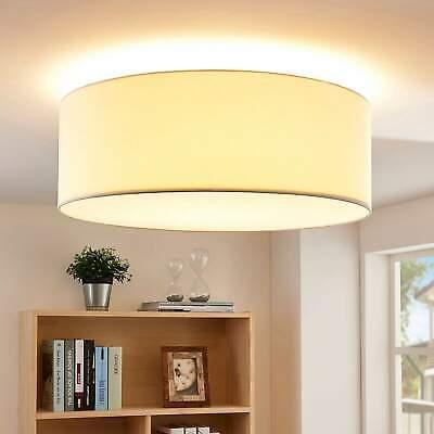 LED Deckenleuchte Dora Cremefarben Lampenwelt Stoff Rund Deckenlampe Creme LED