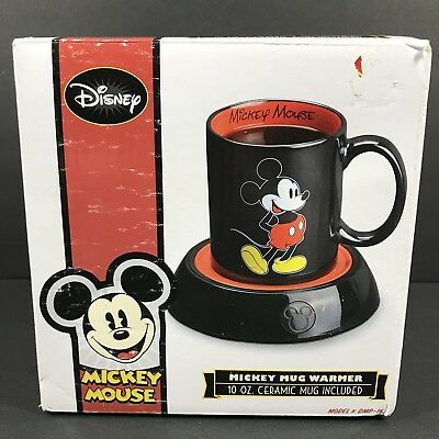 Disney Mickey Mouse Mug Warmer With 10Oz Ceramic Cup Black Red