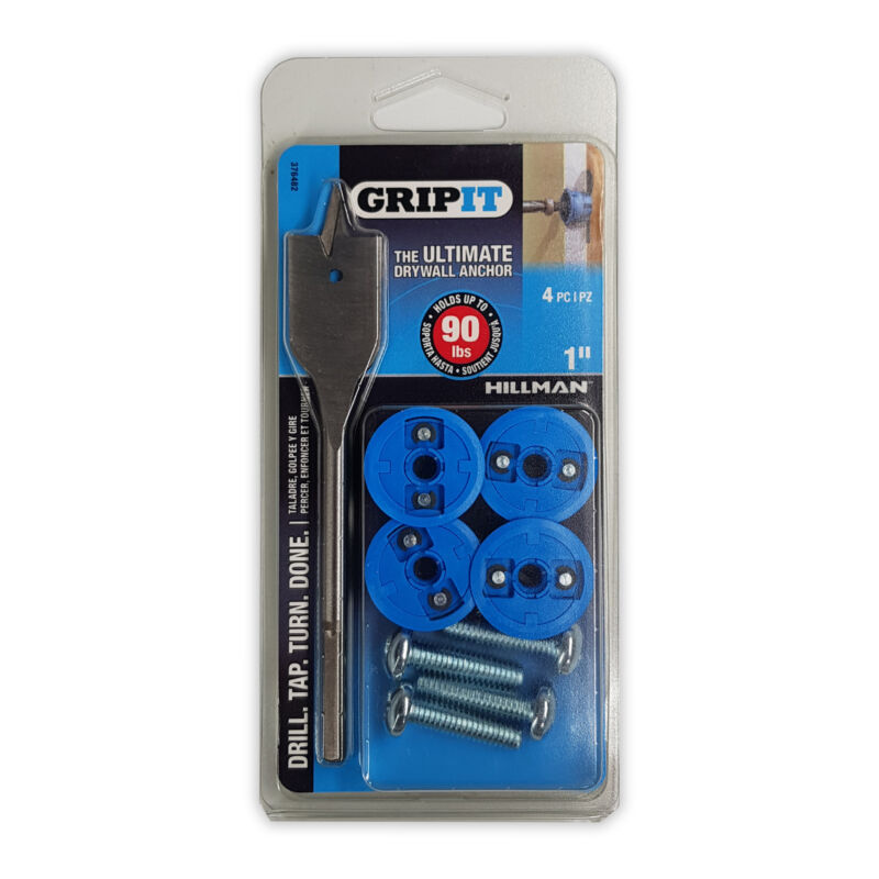 "GripIt Drywall Anchor Blue 1"" 4ct"