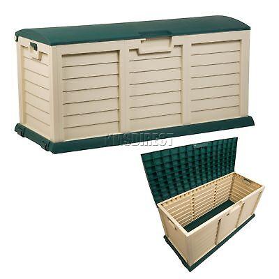 Starplast Outdoor Garden Plastic Storage Chest Cushion Shed Box 390L Green Beige