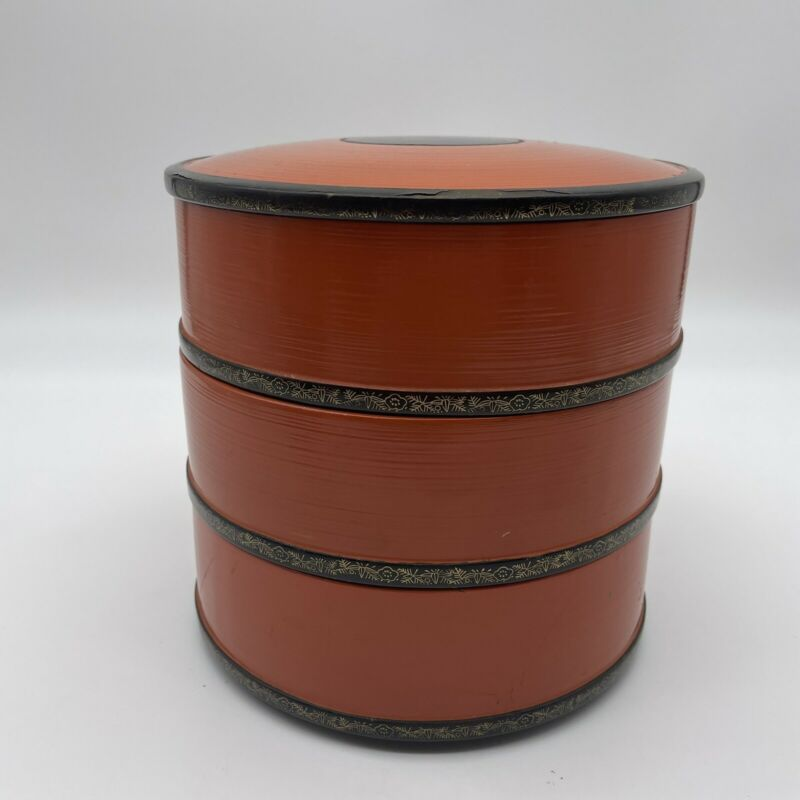 """Vintage Black Orange Red Lacquer Stacking Boxes 6.75"""" tall Japanese"""