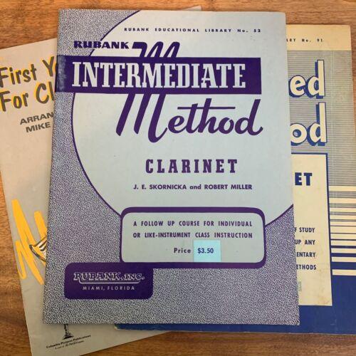 Lot 3X Vtg Clarinet Lesson Instruction Books Rubank Intermediate Advanced Solos
