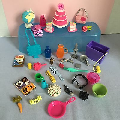 Barbie Doll Accessories Mixed Lot Kitchen Technology Cake Dishes Flowers