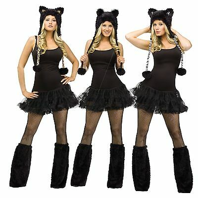 Womens Animal Costume Kits Black Cat Cheetah White Zebra Leopard Boot Cover Ears