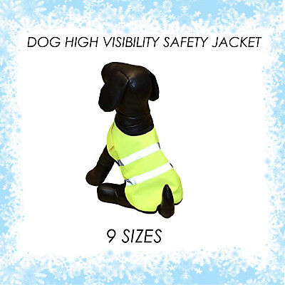 PET GEAR HIGH VIS VISIBILITY RD SAFETY REFLECTIVE DOG COAT WINTER JACKET YELLOW