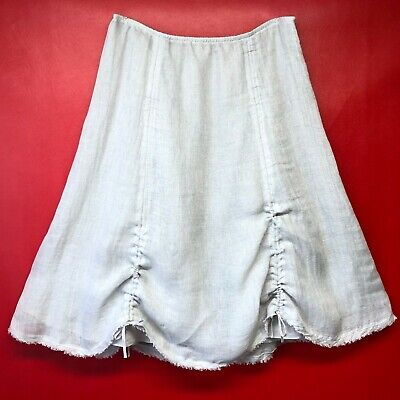 Eileen Fisher Gray Italian Linen Ruched Lagenlook Edgy Fully Lined Midi Skirt L