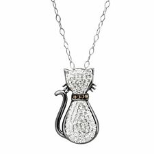 White Cat Pendant with Crystals in Sterling Silver with Black Rhodium Plate