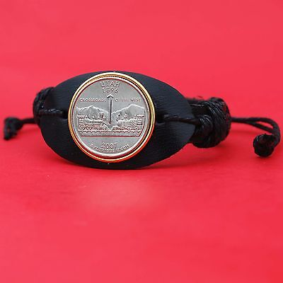 US 2007 UTAH STATE QUARTER BU COIN GENUINE LEATHER CUFF BRACELET NEW
