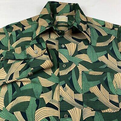 1970s Mens Shirt Styles – Vintage 70s Shirts for Guys Vintage 1970s Sears Mens Medium Big Collar Long Sleeve Disco Jungle Print Shirt $37.87 AT vintagedancer.com