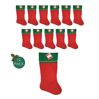 12 Pk Red & Green Christmas Stockings 17.5 in X 7 in (Pack of 12) NEW - Pack Of Christmas Stockings