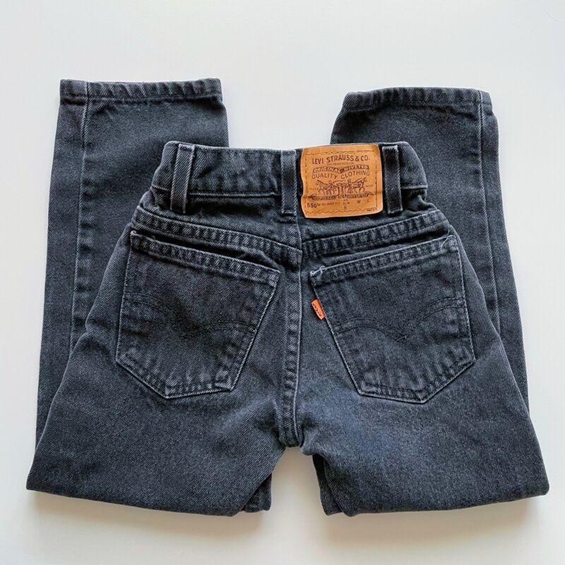 Vintage Little Levi's 550 Relaxed Slim Fit Black Denim Jeans Kids Sz 6