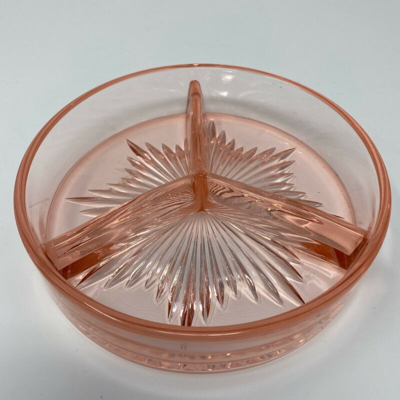 Vintage Pink Depression Glass Candy Nut Relish Divided Starburst Dish 6 1/4""